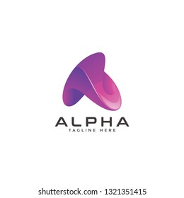 Abstract Modern Gradient Purple of Triangle or Letter A Logo Icon