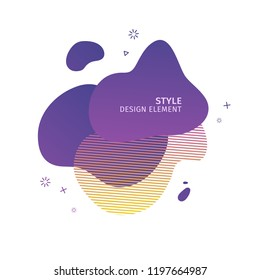 Abstract modern graphic elements. Dynamical  purple color  form and line. Gradient abstract banner with plastic liquid shapes. Template for the design of a logo, flyer or presentation. Vector.