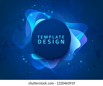 Abstract modern graphic elements. Dynamical blue neon colored forms. Gradient abstract banners with bright circle shapes. Template for the design of a logo, flyer or presentation. Vector