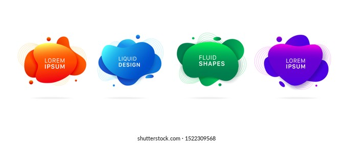 abstract modern graphic elements. Dynamical colored forms and line. Gradient abstract banners with flowing liquid shapes
