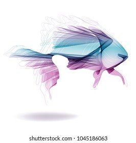 Abstract modern illustration, beautiful color fish over white