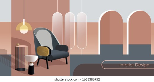 Abstract modern Interior in pastel shades of pink color. Vector mockup for background a layout landing page or design advertising banner or booklet. Contemporary architecture illustration.