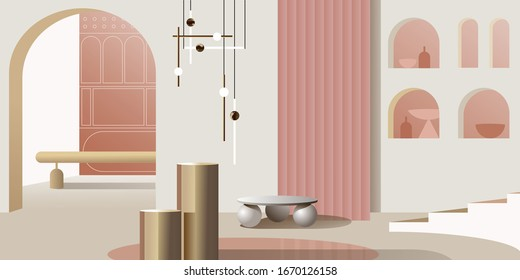 Abstract modern Interior in pastel shades of pink. Vector mockup for background a layout landing page or design advertising banner or booklet. Contemporary architecture illustration.