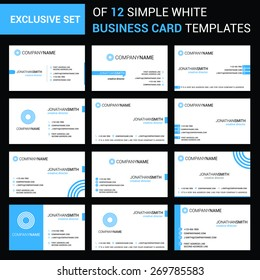 abstract modern large collection of Blue business card template designs with logo icons for business visual identity