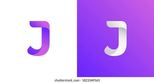 Abstract Modern Letter J logo design using modern hype purple gradient color trend. vector illustration eps10