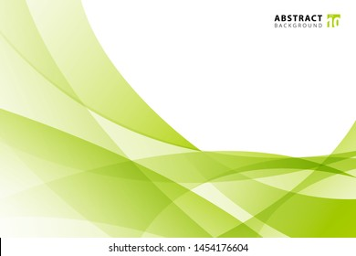 Abstract modern light green wave element on white background with copy space. vector illustration