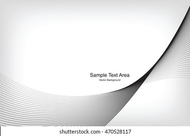 Abstract Modern Line, Wave Designed On Gray Background With Sample Text Area