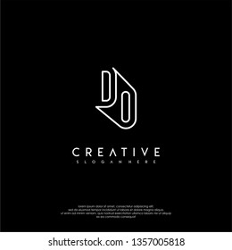 abstract modern lines logotype of DO design concept