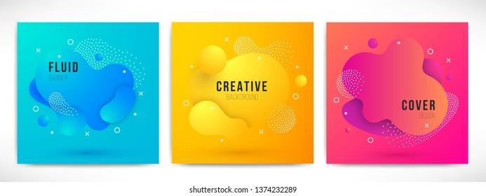 Abstract modern liquid color Backgrounds set. Dynamic colorful design elements. Fluid gradient geometric shapes for presentation, cover, logo, flyer, web. Futuristic amoeba vector illustration