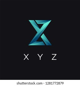 Abstract modern monogram xyz letter logo icon vector template on black background