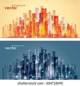Abstract modern night City skyline, vector illustration
