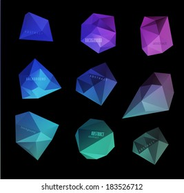 Abstract modern polygonal bubble, label website header or banner set for website, info-graphics