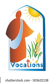 Abstract modern simple logo for vocations, with figure of sower sowing seeds
