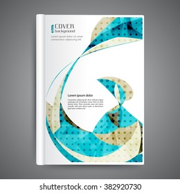 Abstract modern template book cover with abstract lines and waves