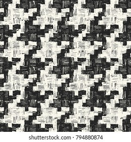 Abstract Modern Textured Houndstooth Checked Motif. Seamless Pattern.