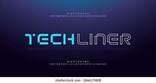 Abstract modern thin line font alphabet. Technology digital neon fonts and numbers. Typography typeface uppercase number. vector illustration