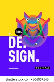 Abstract Modern Toys Design Festival Poster. Publications and Presentations Layouts Graphic Template and ideas for Poster.Vector Illustration of Cartoon Head 3d forms.