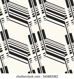 Abstract modern twisted variegated striped elements. Seamless pattern.
