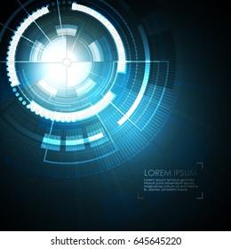 Abstract modern vector background design presentation.  Digita blue illustartion with sphere