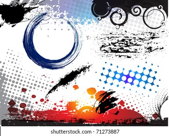 abstract modern vector illustration,grunge elements with retro shapes,ink splat.