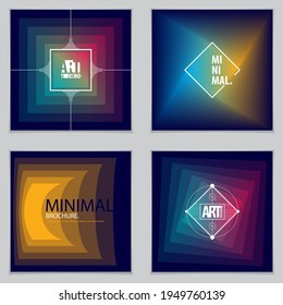 Abstract Modern Vector minimal template Flyers. Vector geometric abstract backgrounds set. Design templates for booklets, greeting cards, invitations and advertising.