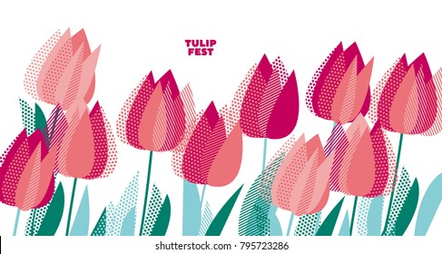 Abstract modern vivid floral motif for surface design. Cool spring pattern with geometric decorative pink tulip flowers, design elements.