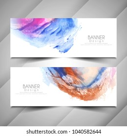Abstract modern watercolor style banners design set