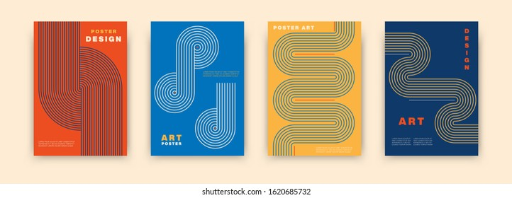 Abstract modernism graphic poster design. Vintage colorful vector covers set swiss memphis style. Retro geometric art compositions for journal, books, posters, flyers, magazines