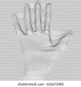 Abstract moire vector op art hand. Monochrome  graphic black and white ornament.