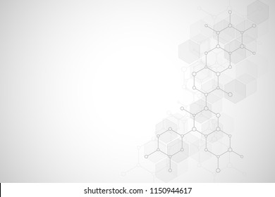 Abstract molecular structure and chemical elements. Medical, science and technology concept. Vector geometric background from hexagons
