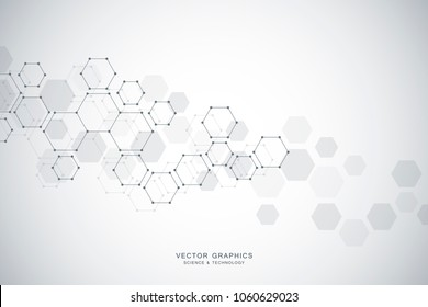 Abstract molecular structure and medical background. Medicine, science or technology concept. Vector illustration
