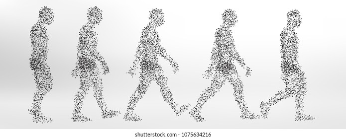 Abstract Molecule based human figure walking - simple steps of walk cycle
