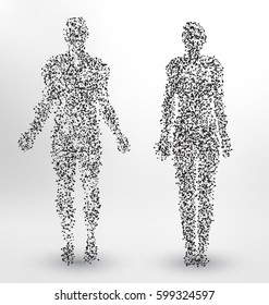 Abstract Molecule based human figures concept - Illustration of a man and woman body made of dots and lines