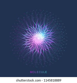 Abstract molecule structure. DNA helix, DNA strand, molecule or atom, neurons. Molecular structure for science or medical design