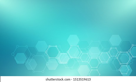 Abstract molecules background. Molecular structures or chemical engineering, genetic research, innovation technology. Scientific, technical or medical concept. Vector illustration