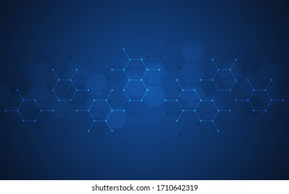 Abstract molecules background. Molecular structures or chemical engineering, genetic research, innovation technology. Scientific, technical or medical concept. Vector illustration.
