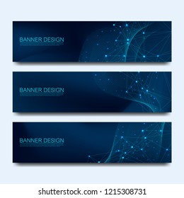 Abstract molecules banners set with lines, dots, circles, polygons. Vector design network communication background. Futuristic digital science technology concept for web banner template or brochure