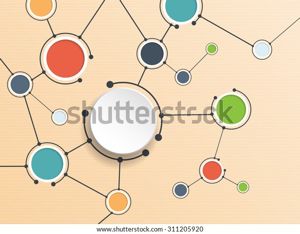Abstract molecules and communication technology with integrated circles with  Blank space for your design. Vector illustration global social media concept.