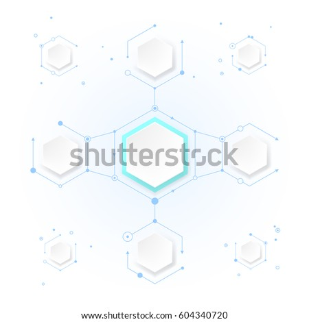 abstract molecules hexagon paper blank space stock vector royalty