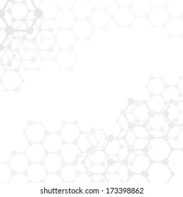 Abstract molecules medical background with copy space (vector illustration)