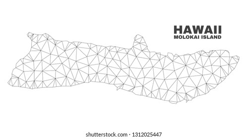 Abstract Molokai Island map isolated on a white background. Triangular mesh model in black color of Molokai Island map. Polygonal geographic scheme designed for political illustrations.