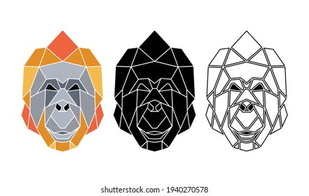 Abstract monkey face. Totemic animals portrait. Geometric abstract animals logo