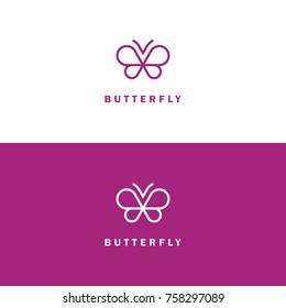 Abstract mono line butterfly vector icon. Beauty salon, spa center, cosmetics logo design concept.