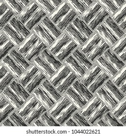Abstract Monochrome Basket Weave Graphic Motif Grain Stroke Checked Textured Background. Seamless Pattern.
