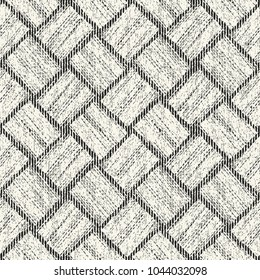 Abstract Monochrome Basket Weave  Graphic Motif Grain Stroke Textured Background. Seamless Pattern.
