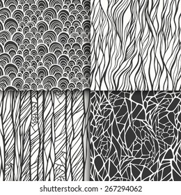 Abstract monochrome black and white doodle seamless patterns set. Vector illustration
