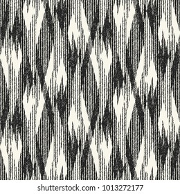 Abstract Monochrome Broken Geometric Motif Brushed Textured Background. Seamless Pattern.