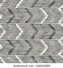 Abstract Monochrome Chevron Motif Glitched Textured Background. Seamless Pattern.