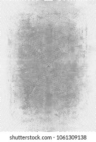Abstract Monochrome Circles Background. Vector Grunge Black And White Modern Urban Pop Art Design. Halftone Texture For Banner, Poster, Cover, Label, Screen, Mockup, Sticker, Business Card