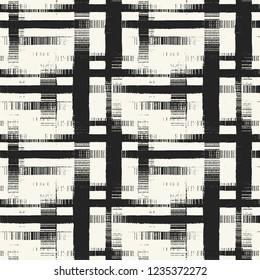 Abstract Monochrome Cross Stroke Glitch Graphic Motif. Seamless Pattern.